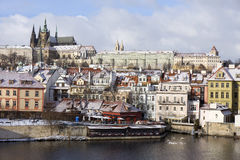 Snowy freeze Prague Lesser Town with gothic Castle, Czech republic Royalty Free Stock Image