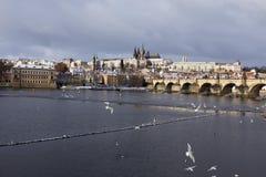 Snowy freeze Prague Lesser Town with gothic Castle, Czech republic Royalty Free Stock Photos