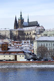 Snowy freeze Prague Lesser Town with gothic Castle, Czech republic Stock Images