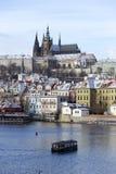 Snowy freeze Prague Lesser Town with gothic Castle, Czech republic Stock Photography