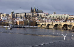 Snowy freeze Prague Lesser Town with gothic Castle, Czech republic Stock Photo