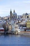 Snowy freeze Prague Lesser Town with St. Nicholas` above River Vltava, Czech republic Stock Photography