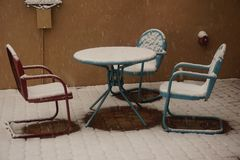 Snowy front patio Royalty Free Stock Image