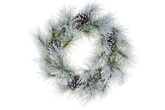 Snowy frosted natural pine Christmas wreath Royalty Free Stock Photo