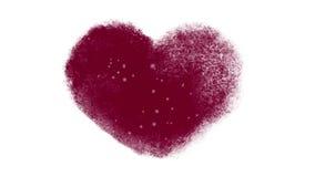 Snowy Frozen Heart Window. Frozen Valentines heart animation with falling snow inside stock video