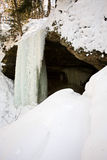 Snowy Frozen Michigan Ice Waterfall Stock Image
