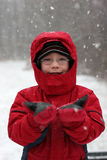 Snowy fun - boy in snowstorm. Young boy in glasses catching falling snow in his mittens Royalty Free Stock Photos