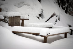 Snowy furniture Stock Photos