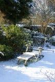 Snowy Garden chair Stock Image
