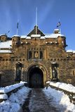 Snowy gates to castle Royalty Free Stock Photos