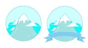Snowy-Gebirgslogo Stockfotos