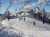 Snowy-Gebirgsoberseite Stockfoto