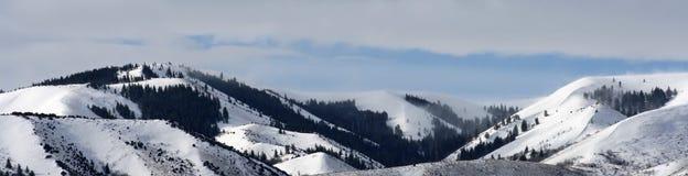 Snowy-Gebirgspanorama Lizenzfreie Stockfotografie