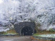 Snowy-Gebirgstunnel Stockbilder