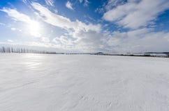 Snowy gefrorene Oberfläche Stockfoto