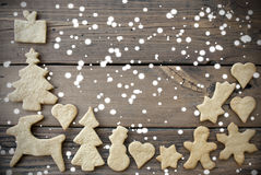 Snowy Ginger Bread Background with Copy Space Stock Photos