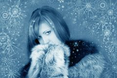 Snowy girl with snowflakes Royalty Free Stock Images
