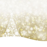 Snowy golden Christmas tree background. Snowy soft gold color background illustration with snowflake Christmas tree and sparkle vector illustration