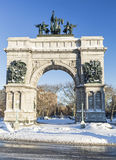 Snowy Grand Army Plaza Monument Royalty Free Stock Photo