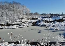 Snowy great falls Stock Photography