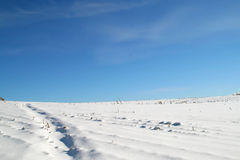 Snowy-Hügel und Himmel Stockfotografie