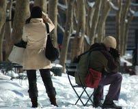 Snowy-Handys Stockfotos
