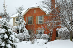 Snowy-Haus stockbild