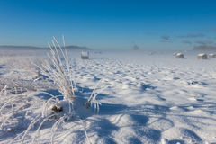 Snowy hay bales near farm Stock Photos