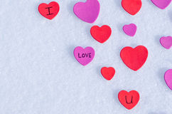 Snowy Hearts Stock Image