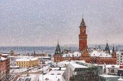 Snowy Helsingborg Skyline Stock Image