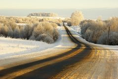 Snowy highway Stock Photography