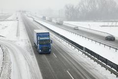 Snowy Highway Royalty Free Stock Photos