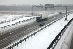 Snowy Highway Royalty Free Stock Photography