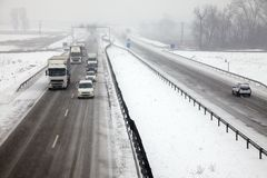 Snowy Highway Stock Photo