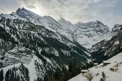 Snowy hiking trail near Gimmelwald village. In Switzerland Stock Image