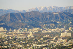 Snowy hills and Hollywood from Baldwin Hills, Los Angeles, California Stock Images