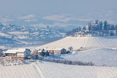 Snowy hills of Langhe, Italy stock photos