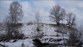 Snowy Hills and moving Clouds Timelapse. Snowy Hills with Birch Trees and moving Clouds Timelapse stock footage