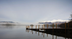 Snowy Hills over Derwentwater. Early morning royalty free stock images