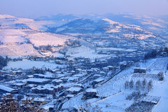 Snowy hills of Piedmont, Italy. Royalty Free Stock Photo