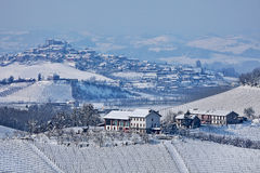 Snowy hills of Piedmont, Italy. Royalty Free Stock Photos