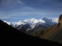 Snowy Himalayan Range in Dry Landscape Stock Image