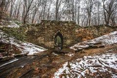 Snowy Historic Poinsett Bridge and Stream near Greenville South. Snowy Historic Poinsett Bridge made of stone and Stream near Greenville South Carolina SC royalty free stock photo