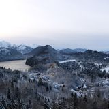 Snowy Hohenschwangau Castle during Winter stock image
