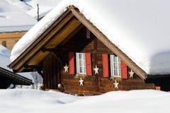 Snowy hotel near the Grindelwald ski area Stock Photo