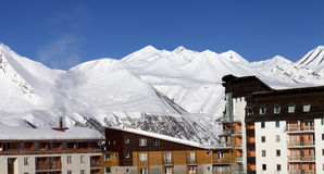 Snowy hotels in winter mountains at nice day Stock Photography
