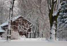The snowy house Stock Image