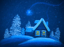 Snowy house on Christmas night. A little cabin in the snowy Christmas night stock illustration