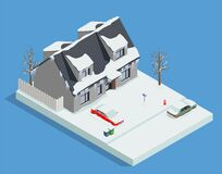 Free Snowy House Yard Composition Royalty Free Stock Images - 214948469