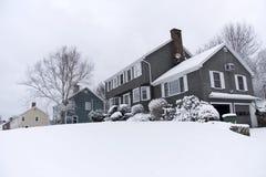 Snowy houses Stock Photo